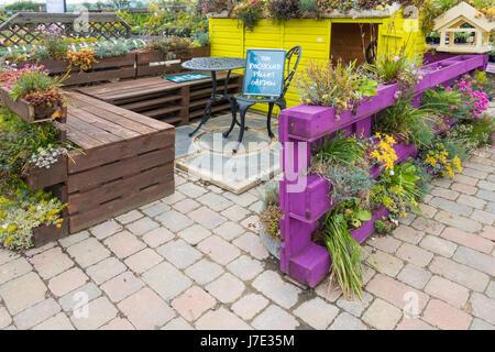 Recycled pallet garden stock photo royalty free image 51111990 alamy - Garden furniture kings lynn ...