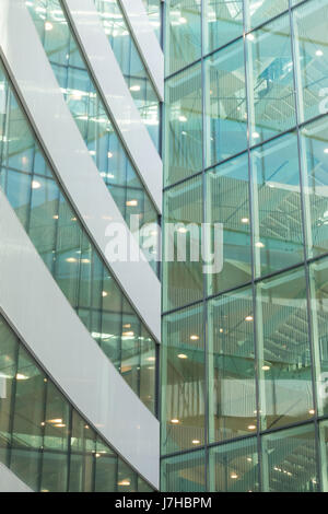 Glass wall of mordern office building - Stock Photo