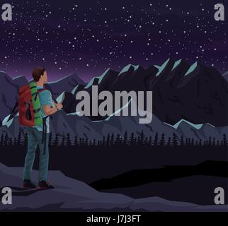 realistic night landscape background of snowy mountains with mountaing climber looking to starry sky - Stock Photo