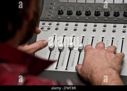 music studio equipment recording track footmark footprint song technician - Stock Photo