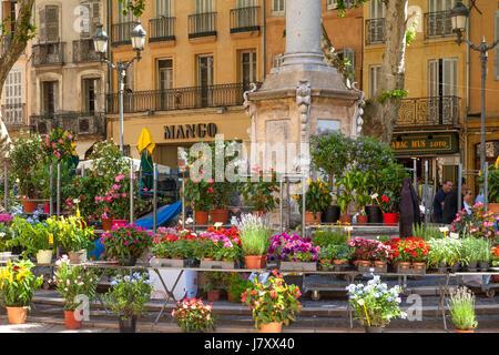 Weekly Flower Market at Place de l'Hotel de Ville, Aix-en-Provence, France - Stock Photo