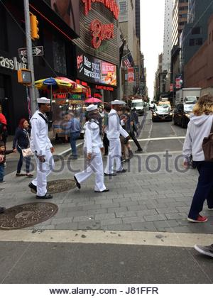 New York City, USA. 26th May, 2017. Sailors hit Times Square as they visit New York City, New York on May 26, 2017 - Stock Photo