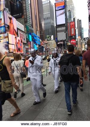 New York City, USA. 26th May, 2017. Sailors hit Times Square as they visit New York City, New York on May 26, 2017 - Stock Photo