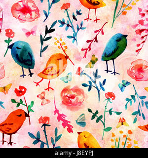 A seamless background pattern with quirky watercolor birds, butterflies, and abstract florals, hand painted on a - Stock Photo