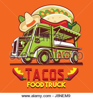 taco mexican food logo and food label or sticker concept