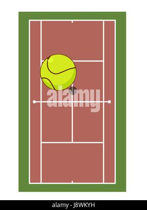 Tennis field and ball. Game of tennis. Game ball high above ground - Stock Photo
