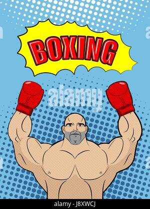 Boxing champion  style of pop art with the babble box. Athlete raised his hands in a victory gesture. Man in boxing - Stock Photo