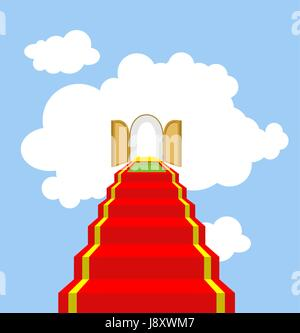 Open gates of paradise. Ladder into clouds. Degree in sky. Red carpet for ascent into paradise. Vector illustration - Stock Photo
