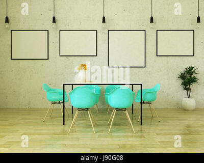 Beautiful dining table with turquoise chairs on wooden floor in front of a concrete wall with picture frames and - Stock Photo