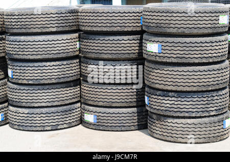 New truck tires stack up - Stock Photo