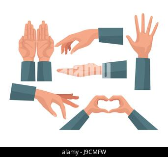 colorful set hands charity share love symbols - Stock Photo