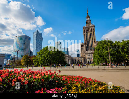 Skyscrapers with Palace of Culture and Science, City Centre, Warsaw, Masovian Voivodeship, Poland, Europe - Stock Photo