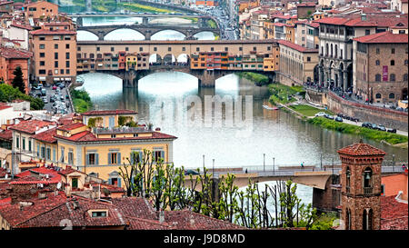 Ponte Vecchio Bridge across Arno River, Florence, UNESCO World Heritage Site, Tuscany, Italy, Europe - Stock Photo