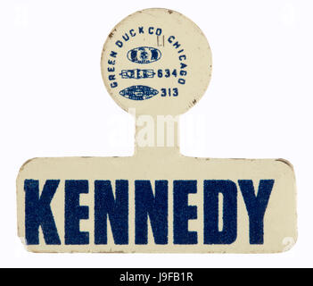 A 1960 blue and white metal lapel tab for democratic candidate John F. Kennedy for US President - Stock Photo