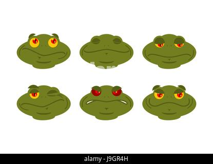 Frog emoji set. toad Avatar Good and evil amphibious. Sleeps and winks. Joy and sadness face reptile - Stock Photo