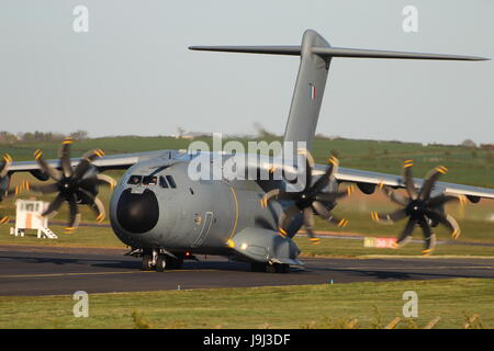 F-RBAF/0014, an Airbus A400M Atlas operated by the French Air Force, acting as support for the Patrouille de France - Stock Photo