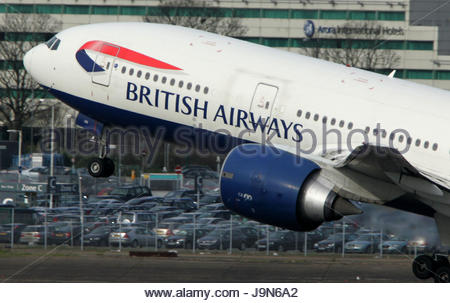 Undated file photo of a British Airways Boeing 777 taking off. The airline's cabin crew are to stage fresh strikes - Stock Photo