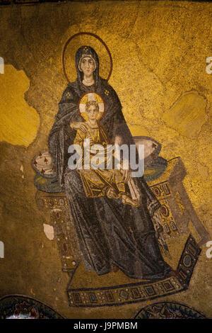Turkey,Istanbul,Hagia Sophia,interior shot,dome,mosaic,Byzantine,religiously, - Stock Photo