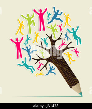 Diversity world people concept pencil tree. Vector illustration layered for easy manipulation and custom coloring. - Stock Photo
