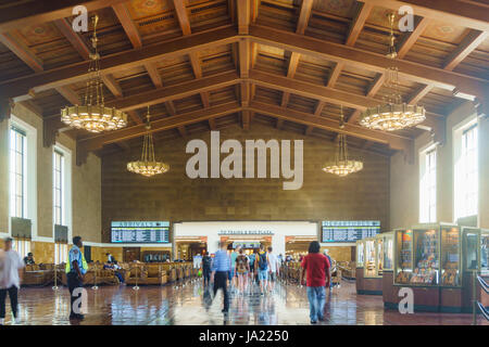 Los Angeles, APR 11: Interior view of the historical union station on APR 11, 2017 at Los Angeles - Stock Photo