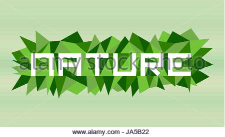 Unusual nature flat text over vintage triangle composition background. Vector file layered for easy manipulation - Stock Photo