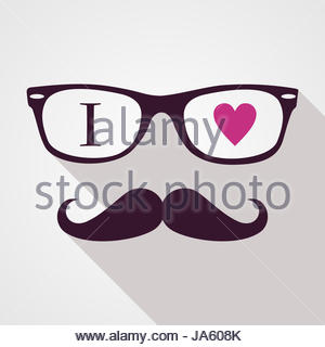 Retro hipsters icons love concept, isolated background. Vector file layered for easy manipulation and custom coloring. - Stock Photo