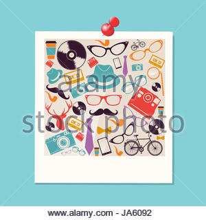 Colorful vintage hipsters icons instant photo illustration. Vector file layered for easy manipulation and custom - Stock Photo