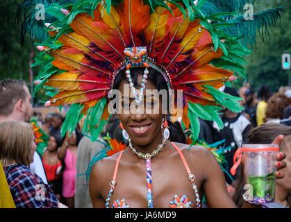 Berlin, Germany - june 04, 2017: Portrait of a beautiful black woman wearing costume on Karneval der Kulturen ( - Stock Photo