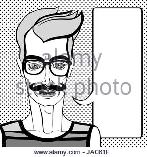 Hipster portrait with speech bubble, hand drawn illustration of a man with moustache and glasses over a background - Stock Photo