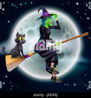 A Halloween illustration of a green witch flying on her broom with her cat in front of a star lit night sky with - Stock Photo