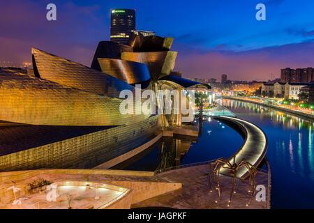 Guggenheim Museum by night, Bilbao, Basque Country, Spain - Stock Photo