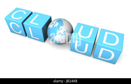 Blue cloud computing sign made of cubes and planet isolated on white background - Stock Photo