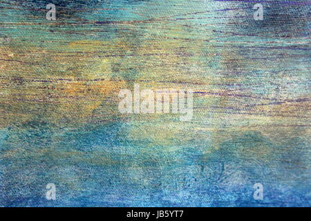 Blue Green Paint Textures on Canvas - Stock Photo