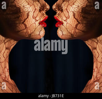 Fantasy. Two Women's Faces with Tracery Opposite each other. Reflexion - Stock Photo