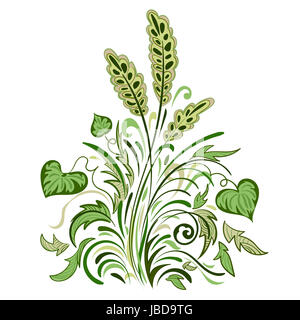 Floral swirl colored decorative pattern with leaves, grass and spikelets - Stock Photo