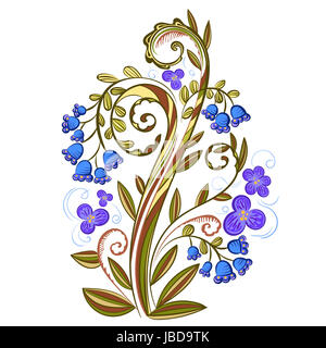 Decorative floral colored pattern with leaves, flowers and bluebells - Stock Photo