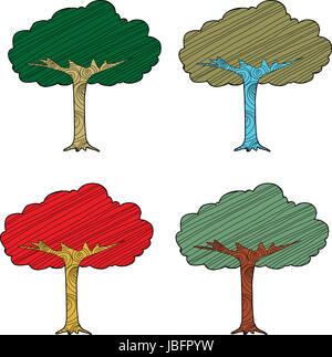 Set of four seasonal abstract trees on white background - Stock Photo