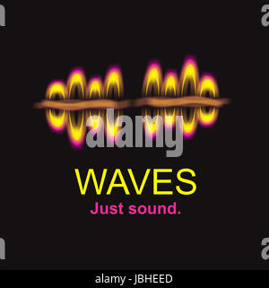 Sound wave logo illustration hand drawn - Stock Photo