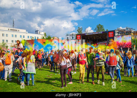 St Petersburg, Russia. 10th June, 2017. The festival of colors Holi. ST PETERSBURG, RUSSIA - JUNE 10, 2017. Credit: - Stock Photo