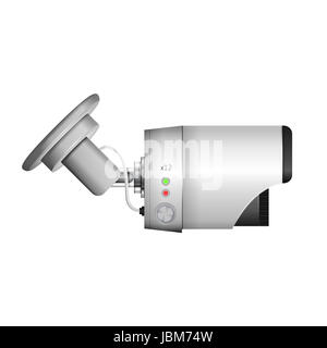 Side view of gray surveillance camera. Isolated vector illustration on white. - Stock Photo