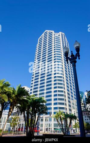 A view of One America Plaza, the tallest skyscraper in Downtown San Diego in southern California in the United States - Stock Photo