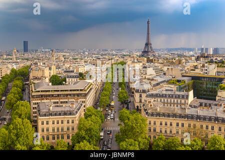Paris city skyline view from Arc de Triomphe with Eiffel Tower, Paris, France - Stock Photo