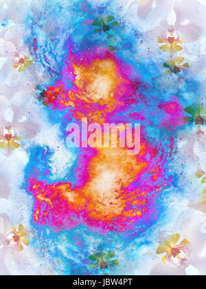 Cosmic space with flower, color galaxy background, computer collage. Fire effect. - Stock Photo