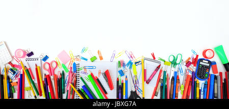 School supplies on white background - copy space - Stock Photo