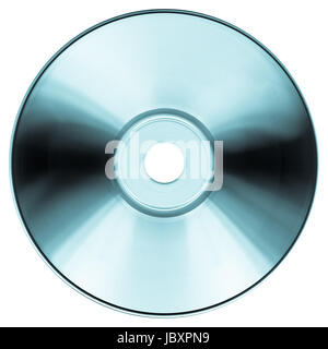 CD DVD for audio and video data recording isolated over white background - cool cyanotype - Stock Photo