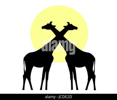 Giraffes black silhouette against the sun vector image - Stock Photo