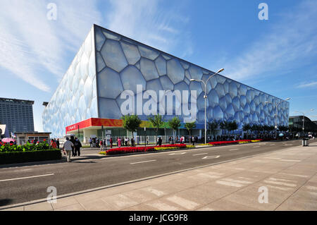 """BEIJING, CHINA - SEPTEMBER 21, 2009: Exterior of The Beijing National Aquatics Center. It is also known as """"Water - Stock Photo"""