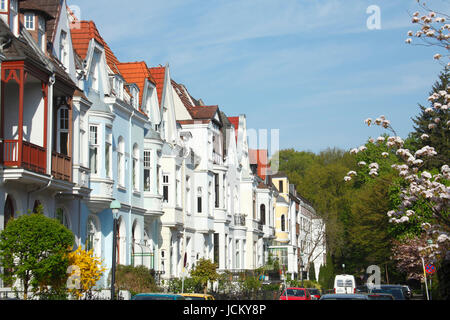 alte bremer haeuser in bremen findorff mit kirschbl te bremen stock photo royalty free image. Black Bedroom Furniture Sets. Home Design Ideas