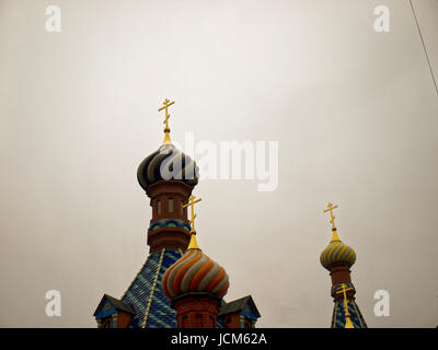 the Orthodox Church in Moscow on background of cloudy sky - Stock Photo