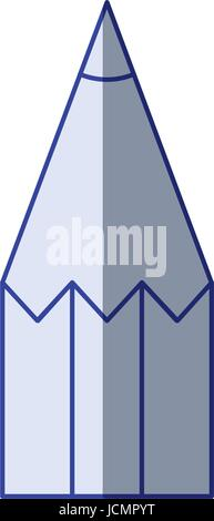 white background with blue shading silhouette of pencil tip - Stock Photo